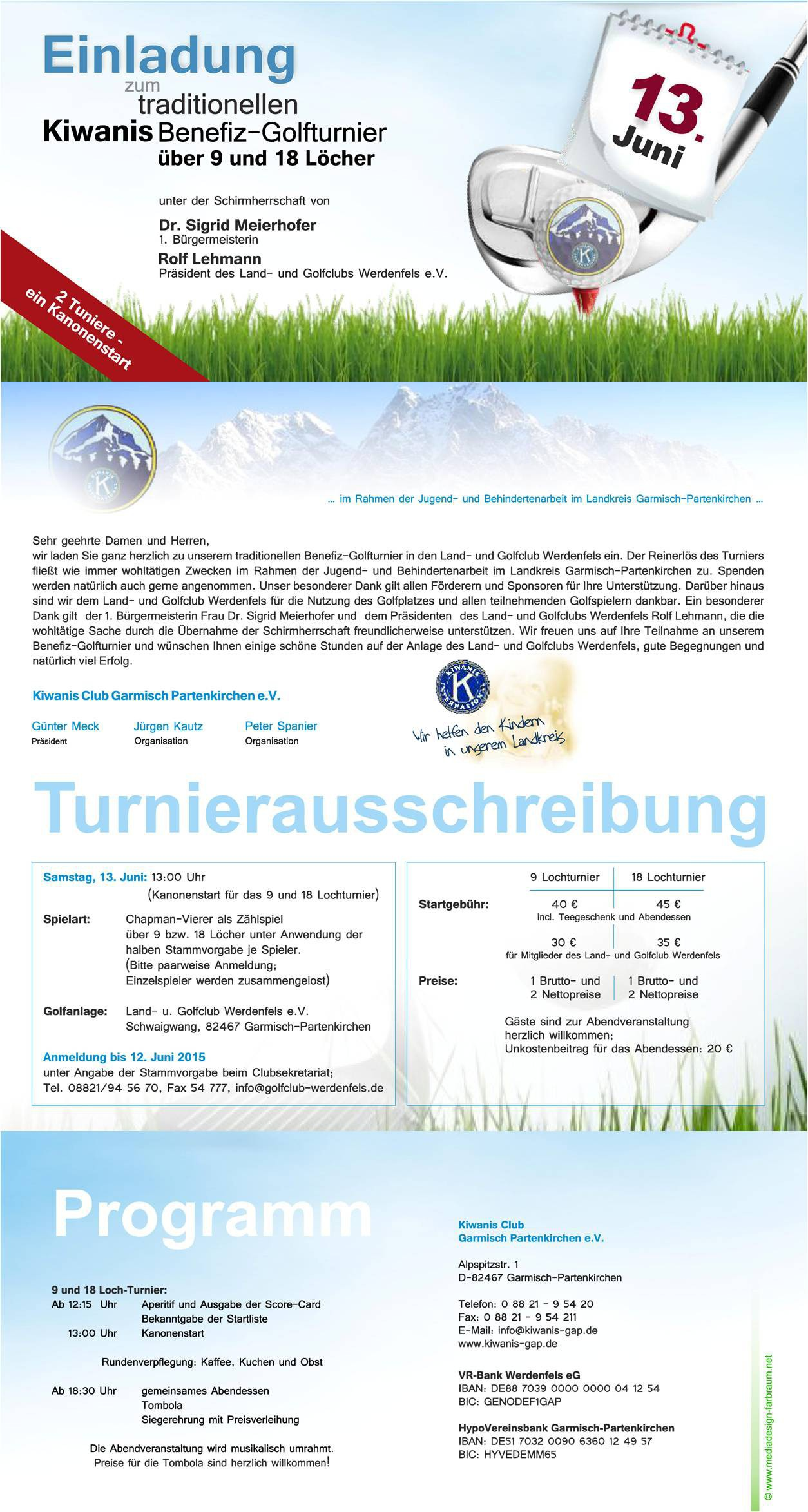 Einladung Golf 2015 Tunierausschreibung